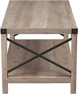 Hoomic Coffee Table with Storage Shelf, Farmhouse Accent Cocktail Table, Industrial Wood Tea Table, Sofa Center Table for Liv