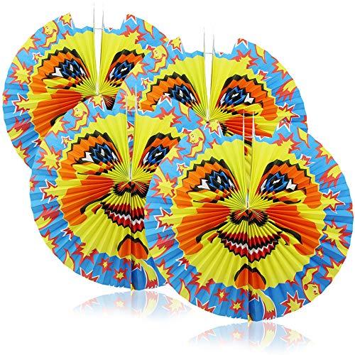 com-four® 4X Laterne mit Buntem Mond Motiv - große Papierlaterne für Sankt Martin und Halloween - Martinslaterne für Kinder - Mondlaterne