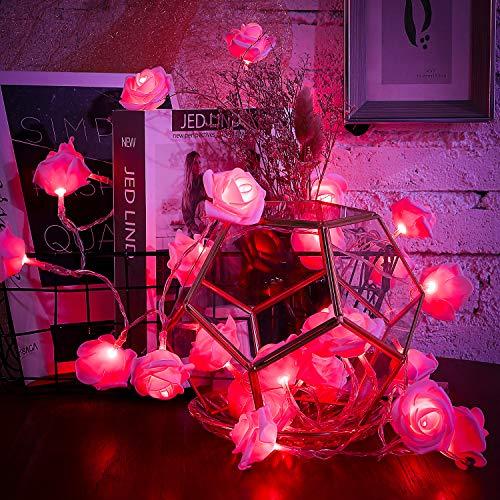 30 LED Rosa Rose Blume Lichterketten Batteriebetriebene Romantische Lichterketten für Valentinstag, Hochzeit, Geburtstag Innen Draussen Dekoration