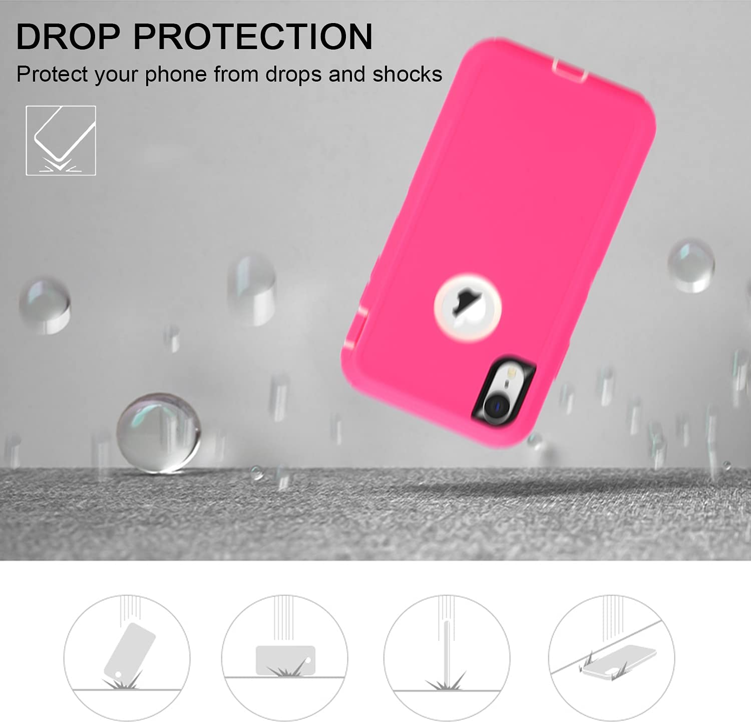 MAXCURY for iPhone XR Case, Heavy Duty Shock Absorption Full Body Protective Case with Hard PC Bumper + Soft TPU Back Cover for iPhone XR 6.1 inch Not Built in Screen Protector (Hot Pink/White)