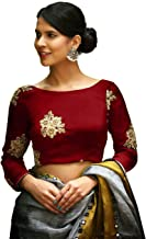Women's Taffeta Silk Stitched Embroidery work Saree Blouse