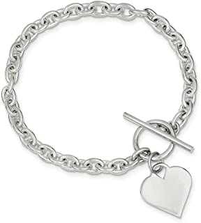 925 Sterling Silver Heart Toggle Bracelet 8 Inch Charm W/charm/love Fine Jewelry Gifts For Women For Her