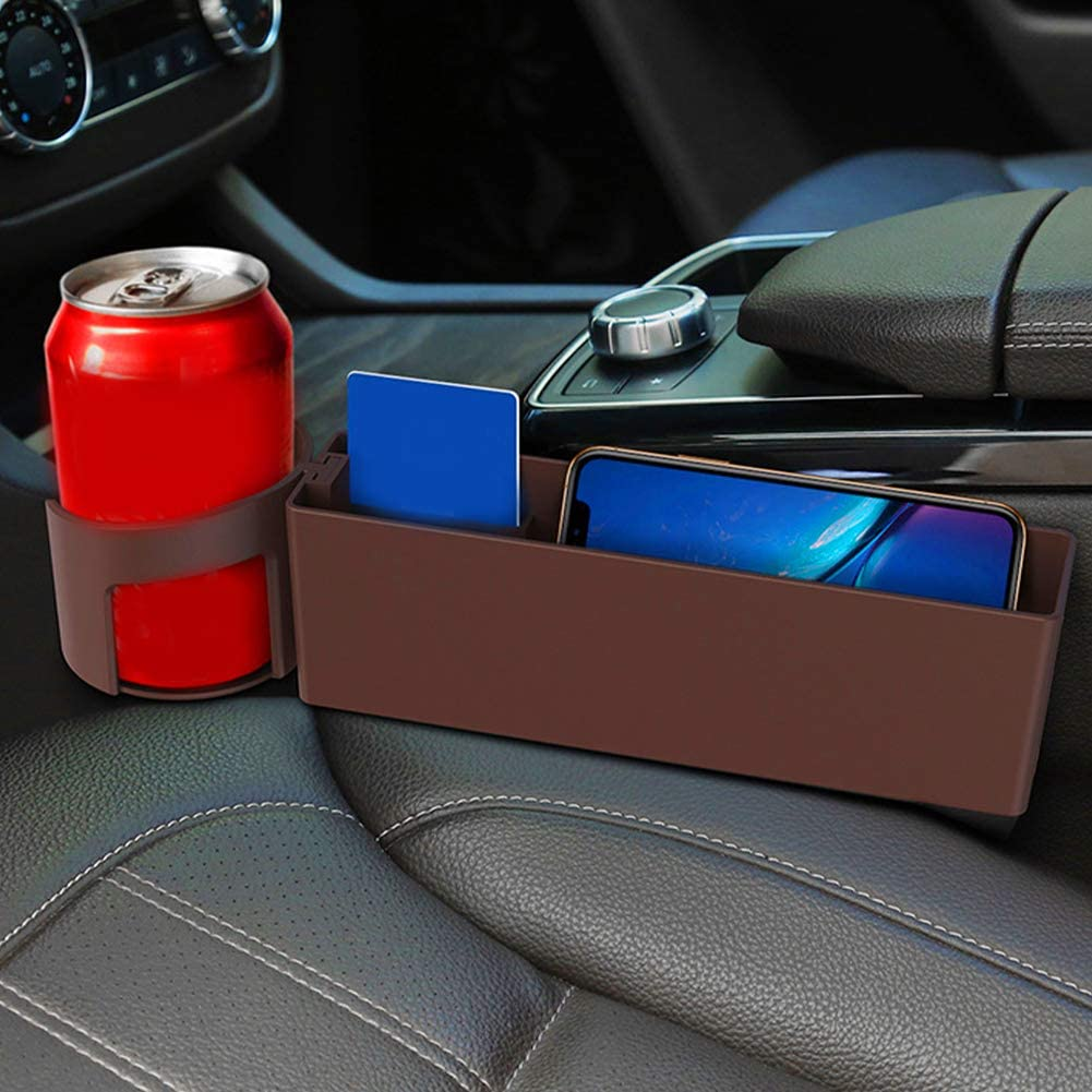 Car Seat Gaps Filler,Multifunctional With Cup Holder Seat Gaps Organizer,Console Side Pocket Storage Box For Cellphones Wallet Keys Drinks