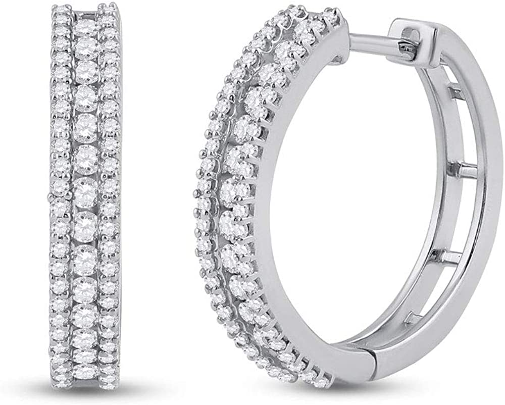 Saris and Things 14kt White Gold Womens Round Max Fixed price for sale 68% OFF Hoop Diamond Earri