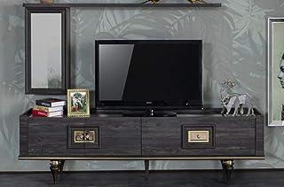 Casa Padrino gabinete TV Art Deco Gris/Negro/latón 226 x 44 x A. 65 cm - Noble gabinete de televisión con cajón y 2 Puerta...