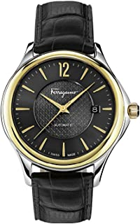 Salvatore Ferragamo Time Men's Automatic Watch With Black Dial and Black Leather Strap Fft020016, Analog Display