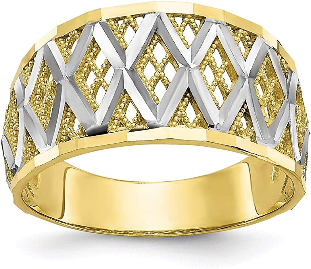 10k Yellow Gold Filigree Band Ring Size 7.00 Fine Jewelry For Women Gifts For Her