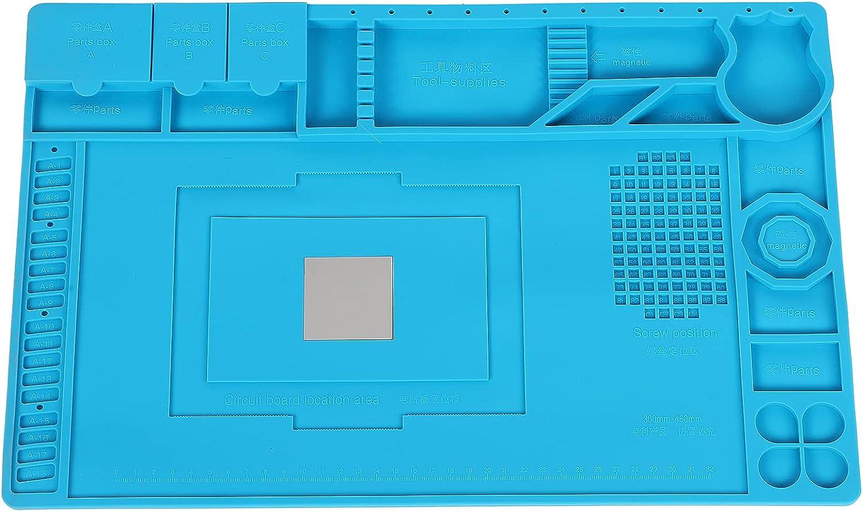 Alfombrilla para soldar de silicona con aislamiento magnético Alfombrilla de reparación magnética Alfombrilla de trabajo resistente al calor para dispositivos electrónicos Banco de trabajo de reparaci