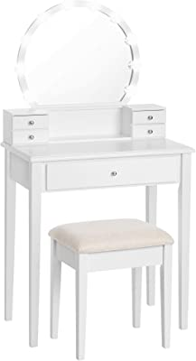 VASAGLE Vanity Set Dressing Table with Mirror, 10 Light Bulbs, Stool 5 Drawers, 27.6 x 15.7 x 52.8 inches, White