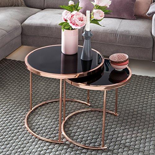 KADIMA DESIGN Ensemble de Conception de 2 Tables gigognes ø 42cm / 45cm Verre métal Noir/cuivre | Miroir Table Basse Table Basse Moderne | Table Ronde en Verre de Table d'appoint