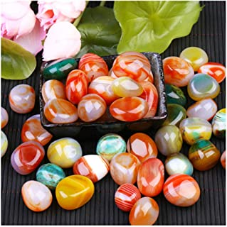 ANTOLE Fish Tank Ornament Pebbles Polished Gravel Rain Stone Natural Polished Mixed Color Stones, Small Decorative River R...