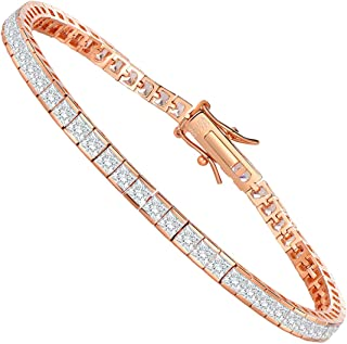 SHKA 925 Sterling Silver Princess Square Cut Tennis Bracelet 18K Women's Bracelet CZ Bracelets Bridal Bracelet with 3x3mm Sparking Cubic Zirconia Stone