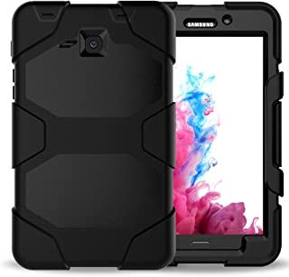 Samsung Galaxy Tab A 7.0 Case (SM-T280),3in1 Heavy Duty Shockproof Armor Hybrid High Impact Resistant Defender Full Body Protective Cover with Built-in Screen Protector and Kickstand (Black)