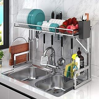 Porte-ustensiles étagères Sèche-linge sur évier plat, support en acier inoxydable avec égouttoir, organisateur économiseur...
