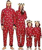 IFFEI Matching Family Pajamas Sets Christmas PJ's One Piece Snow Printed Hoodie Pajamas Men: L