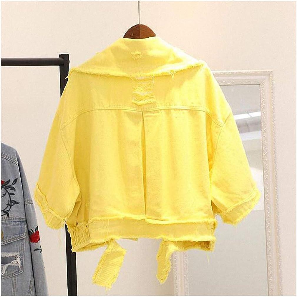 Hiuwa Half Sleeve Spring Jackets Woman Lapel Single Breasted Women Casual Fall Jacket Coat Bright Colors Denim Women's Jacket