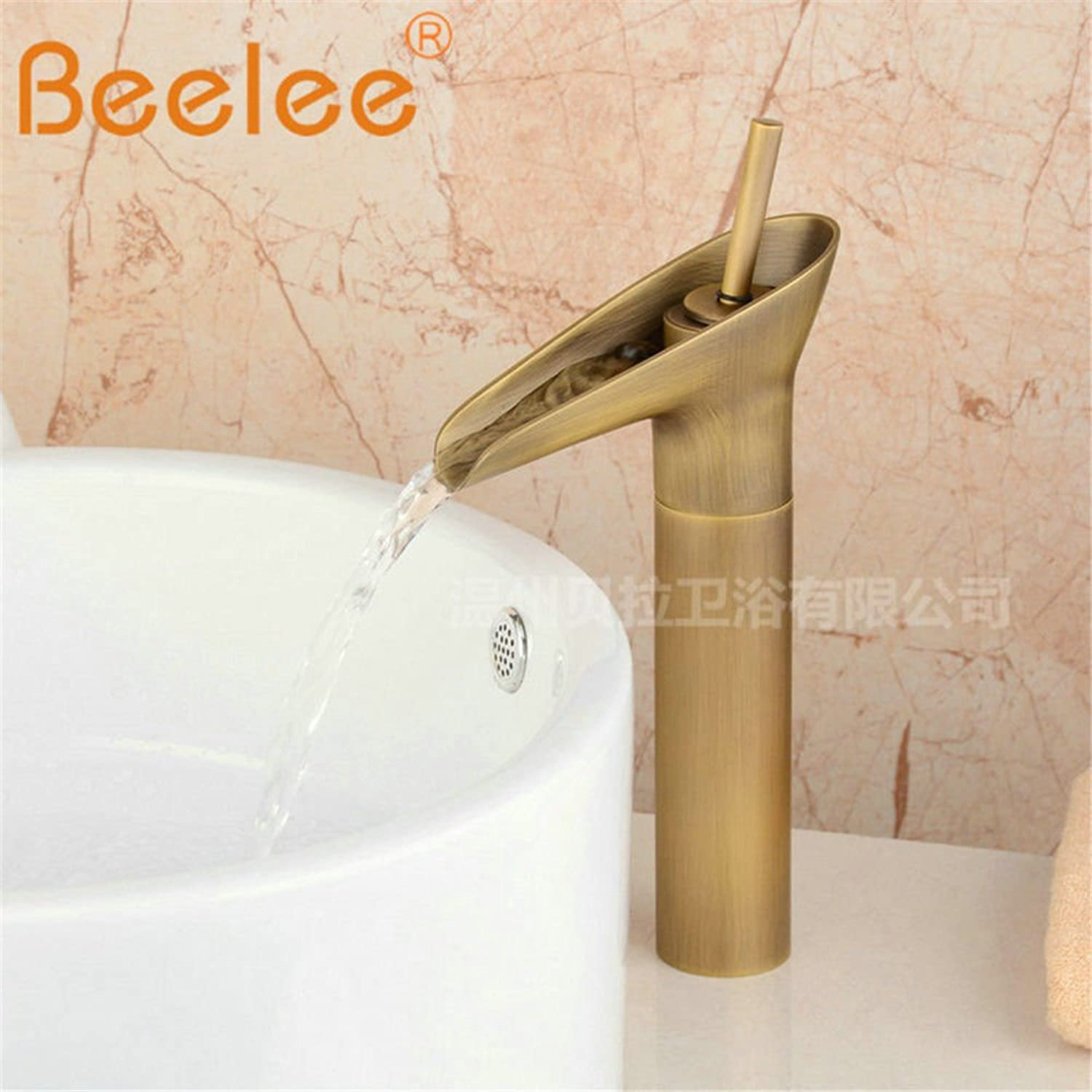 ETERNAL QUALITY Bathroom Sink Basin Tap Brass Mixer Tap Washroom Mixer Faucet Brass antique black antique table basin waterfall of hot and cold glass of high-basin water