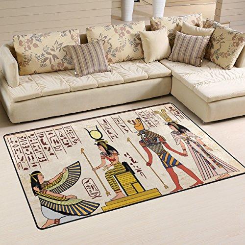 Use7 Tapis de sol antidérapant pour salon, chambre à coucher - Style vintage égyptien africain - 100 x 150 cm