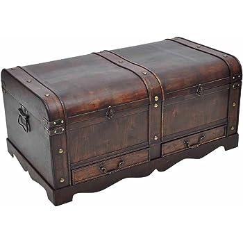 vidaXL Gran Cofre/Caja del Tesoro de Madera en Estilo Antiguo: Amazon.es: Hogar
