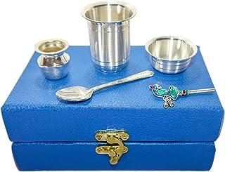 MSA Jewels Pure Silver Set of Glass, Bowl, Spoon, Flute & Kalash