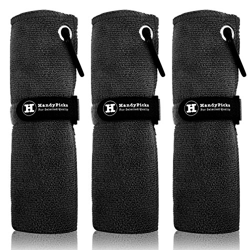 Handy Picks Microfiber Golf Towel (16' X 16') with Carabiner Clip, Hook and Loop Fastener - The Convenient Golf Cleaning Towel Pack (Black, Pack of 3)