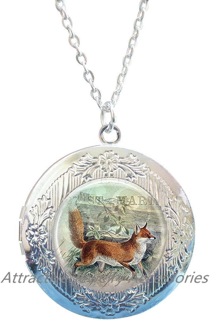 Wklo0avmg Fox Locket Necklace Glass Locket Pendant Locket Necklace Fox Jewelry,Fox Locket Pendant Wearable Art Jewelry Animal Locket Necklace,QK008
