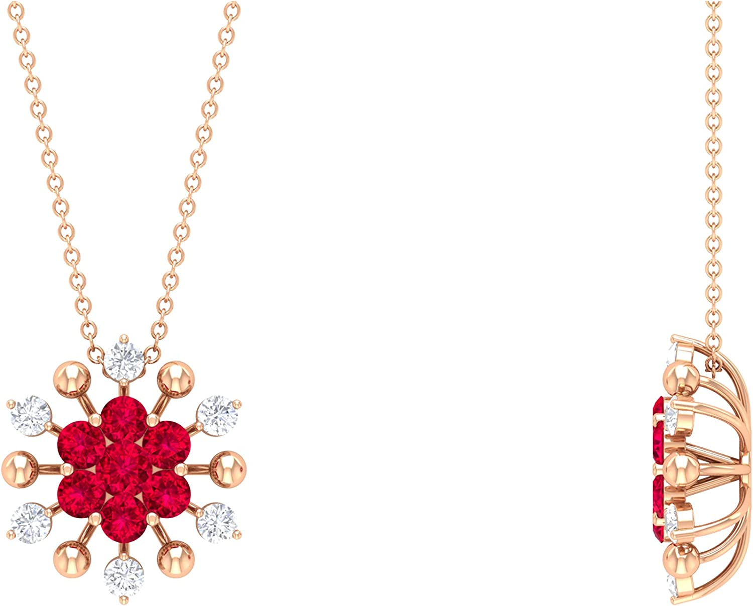 1.50 CT Created Bombing new work Ruby and Diamond Floral Pendant Cluster Virginia Beach Mall Necklace