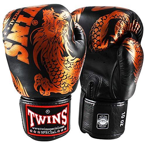 Twins Special Boxhandschuhe, Flying Dragon, schwarz-Bronze Größe 16 Oz