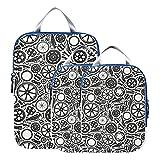 Bolsas organizadoras de equipaje en blanco y negro, ruedas de bicicleta, bolsas de embalaje, juegos de cubos de embalaje expandibles para equipaje de mano, viajes (juego de 3)