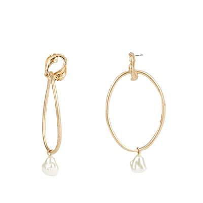 Rebecca Minkoff Organic Metal and Pearl Front Facing Hoops Earrings (Gold) Earring
