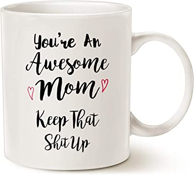 MAUAG Mothers Day Gifts You're An Awesome Mom Funny Mom Mug from Daughter or Son, Best Birthday Present Idea for Mother Her Women White 11 Oz