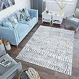 Tapiso Sky Alfombra de Salón Comedor Dormitorio Juvenil Diseño Moderno Crema Azul Líneas Abstracto Suave 160 x 220 cm