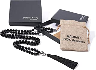 BALIBALI 108 Mala Beads Necklace Semi-Precious Gem Stones...