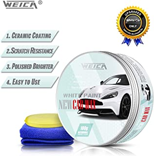 WEICA White Car Wax Solid for White Car Special Wax High Gloss Pure Carnauba Car Wax kit Scratch Resistance Anti-Fade Car Care Wax 180g with Free Waxing Sponge and Towel-White