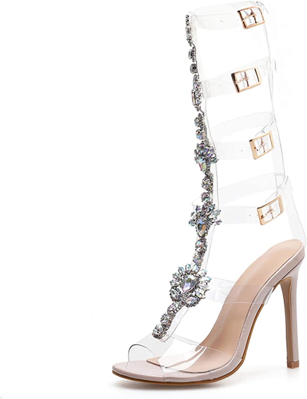 PVC Transparente Sandalias Woman shoes Open Toe High Heel shoes Summer Party Gladiator Sandals