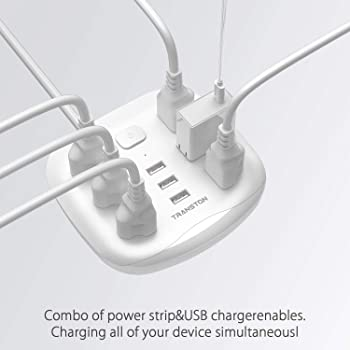 Power Strip 6 Outlet 3 USB with Switch Control, Desktop Charging Station Fast Charge Electric Fireproof 5 ft Heavy Du...