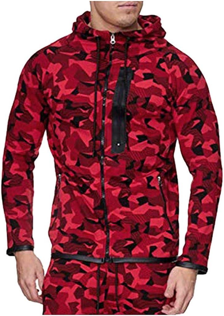 Misaky Hoodies for Men Autumn Winter Loose Retro Sports Camouflage Zipper Pocket Long Sleeve Hooded Sweatshirt