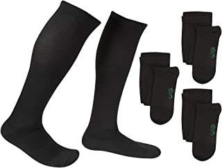 3 Pair EvoNation Men's USA Made Graduated Compression Socks 20-30 mmHg Firm Pressure Medical Quality Knee High Orthopedic Support Stockings Hose - Best Comfort Fit, Circulation, Travel (Large, Black)