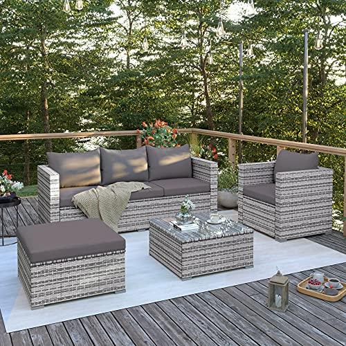 Juego de muebles de jardín, conjunto de muebles de jardín de polirratán para 5 personas, incluye...
