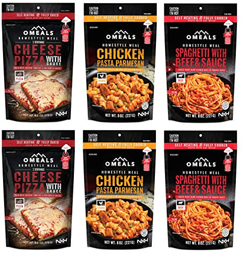 Omeals Self-Heating Portable Meals, 6-Pack - Includes 2 Cheese Tortellini, 2 Turkey Chili and 2 Southwest Chicken Food Packs