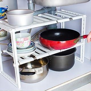 LIIYANN Support pour Organisateur d'étagère Extensible à 2 Niveaux sous l'évier, Support de Rangement Multifonctionnel pou...
