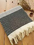 Safir Tagesdecke Überwurf Decke - Wohndecke - perfekt für Bett & Sofa, 100prozent Baumwolle - handgefertigte Fransen, 200x250cm (Schwarz)