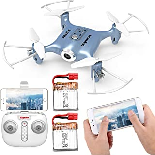 Kiditos Syma X21W Mini RC FPV Drone with Camera, Flight Plan, Altitude Mode, App and Remote Control Quadcopter with 2 Battery
