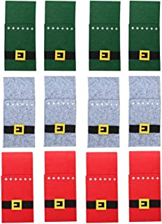 Amosfun - Juego de 6 soportes para cubiertos de Navidad, diseño de Navidad, color rojo, verde y gris, tela sin tejer, Rojo Verde Gris 12pcs, 22.5 * 10cm