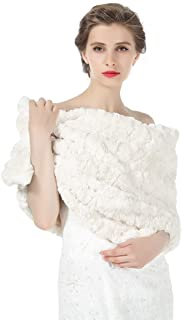 Faux fur Shawl Women Wrap Wedding Stole Bridal Cape Bridesmaids Shrug Winter Cover Up for Evening Dress S79 (5 Colors)