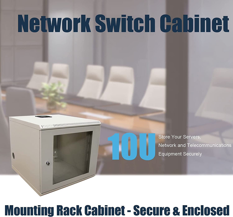 10U Mounting Rack Cabinet-2 Post Wall Mount Network Switch Cabinet - Secure & Enclosed - Locking - Equipment Rack(Beige),ApplytoNetworkWiringRoom,ComputerRoom,ControlCenter.SoldbyFerruNet