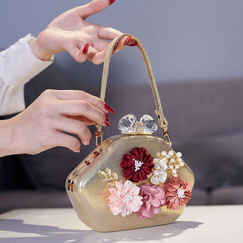 Huasen Evening Bag Tote Bag  Evening Bags Lady Hand Bag Cocktail Dress Bag Wedding Shoulder Bag Party Handbag (color   golden, Size   Crossbody Bag)