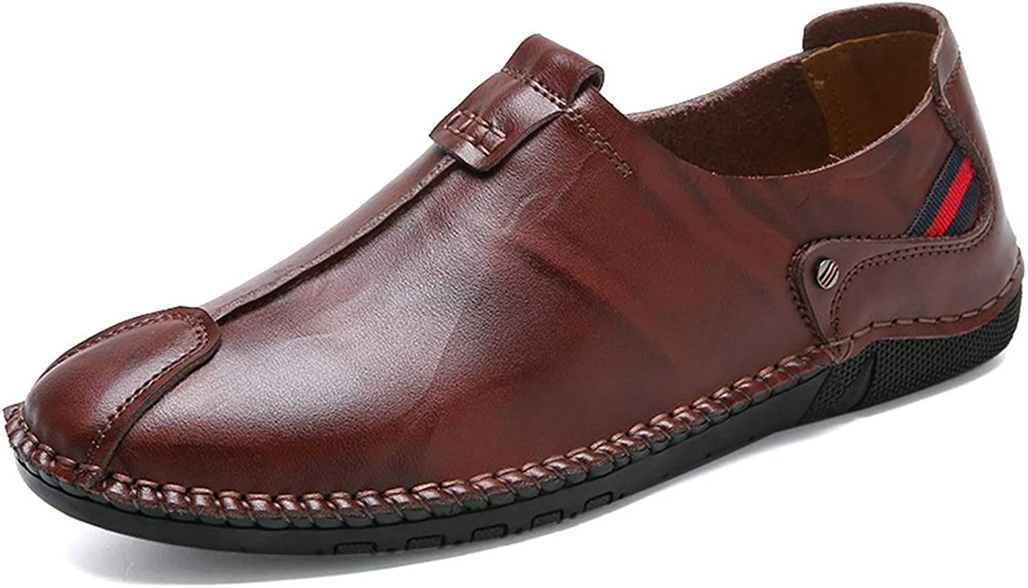 Easy Go Shopping Men Boat Moccasins Slip On Style Microfiber Leather Handtailor Round Toe Pure colors Driving Loafer Cricket shoes (color   Reddish brown, Size   8.5 UK)