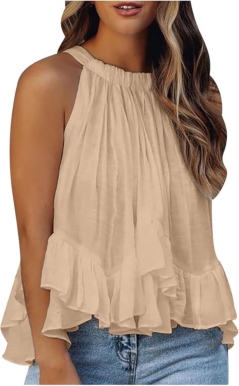 LIULIU Women's Halter Neck Tank Tops Sleeveless Shirt Pleated Camisole Flowy Tunic Blouse Casual Cami Tee Shirts