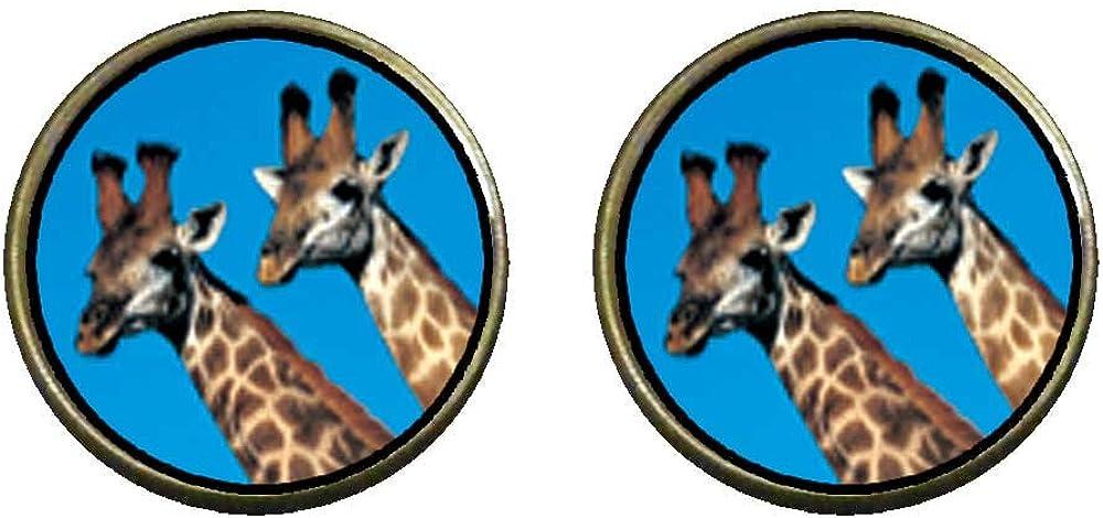GiftJewelryShop Bronze Retro Style Two Giraffes Photo Clip On Earrings 14mm Diameter